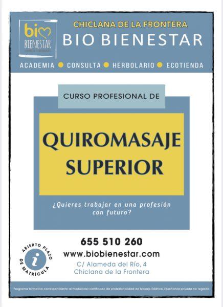 CURSO QUIROMASAJE SUPERIOR EN CHICLANA DE LA FRONTERA CADIZ