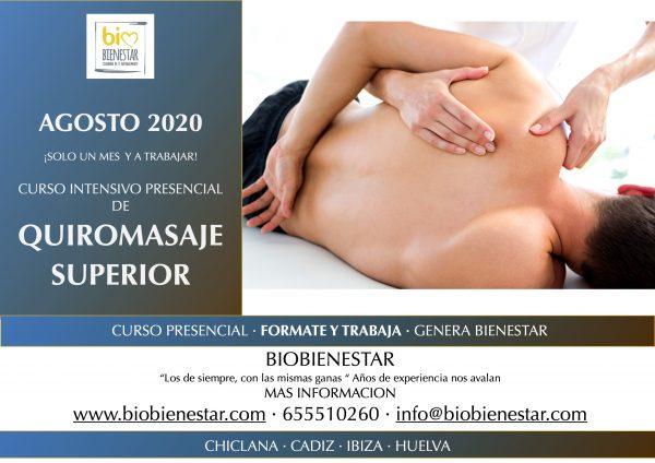 Curso Quiromasaje Superior en Chiclana Cadiz Agosto 2020